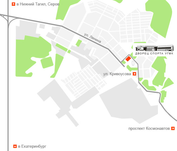Карта проезда по городу Верхняя Пышма // Дворец спорта УГМК.